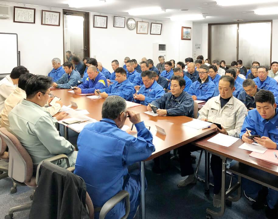 災害防止対策協議会を開催し、全社員が高い意識を持って安全活動に取り組む体制づくりを。